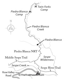 Map to Piedra Blanca Camp