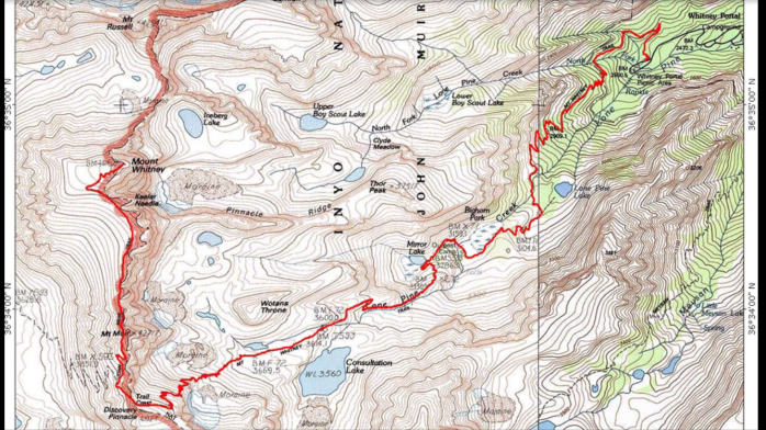 The route: Beginning at Whitney Portal and continuing to Trail Camp, 99 Switchbacks,m Trail Crest, the backside of Mt. Muir and Keeler Needle, up to Mt. Whitney.