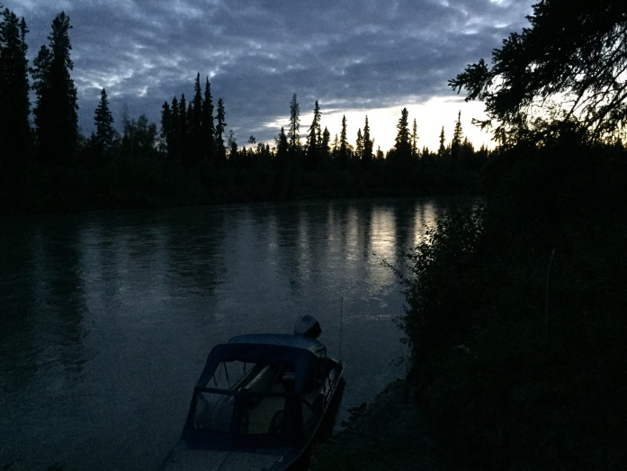 "The Teklanika River. This picture was taken late in the evening looking down river with my Dad's ""Blue Canoe"" in the foreground."